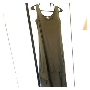 High and flowy, olive green high low dress